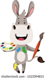 Donkey with color palette, illustration, vector on white background.