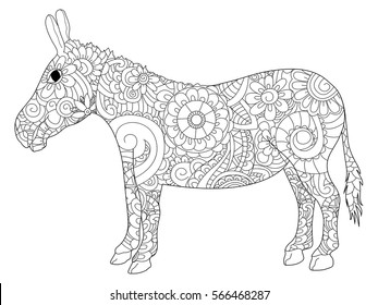 Donkey coloring book for adults vector illustration. Anti-stress coloring for adult ass. Zentangle style jackass. Black and white lines listen goat. Lace pattern brayer and moke