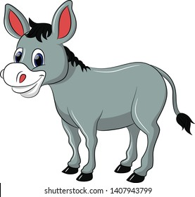 donkey cute illustration, donkey cartoon, donkey vector, donkey illustration