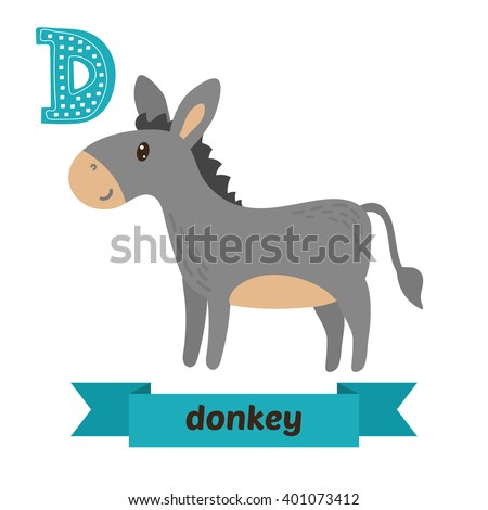 438bde591 D letter. Cute children animal alphabet in vector. Funny cartoon animals.  Vector illustration - Vector