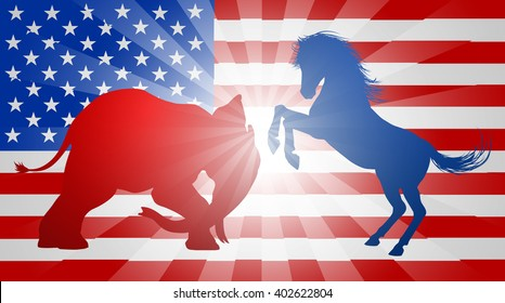 Donkey and elephant fighting in silhouette, with the elephant charging and the donkey rearing up.  Mascot American democratic and republican parties, concept for presidential election or politics