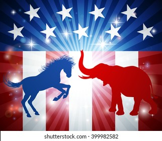 A donkey and elephant in silhouette attacking at each other. Mascot animals of American democratic and republican parties, concept for the presidential election debate or politics in general