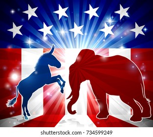 A donkey and elephant in silhouette facing off with an American flag in the background republican and democrat political mascot animals