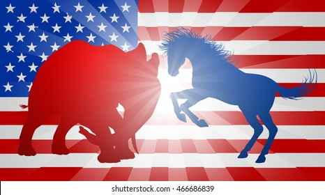 A donkey and elephant silhouettes charging at each other. Mascot animals of American democratic and republican parties, concept for the presidential election debate or politics in general
