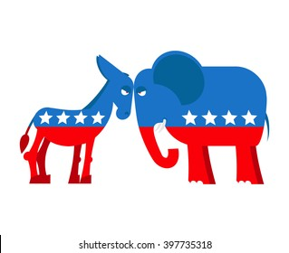 Donkey and elephant symbols political parties America. USA elections. Democrats against Republicans. Opposition American polic