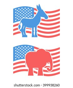Donkey and elephant symbols of political parties in America. USA elections. Democrats against Republicans. Opposition to American policy. United States symbol of governmental debate
