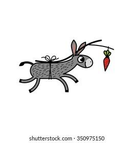 Donkey following a carrot