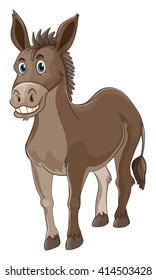 Donkey with happy face illustration