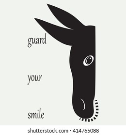 Donkey head abstract art illustration black and white logo design isolated label guard your smile vector white background