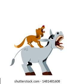 Donkey Heehawing. And Dog. Bremen Town Musicians. White Background Isolated.