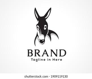 donkey horse front view drawing art logo, symbol deign illustration