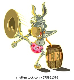 donkey kick brewery Isolated Comic Funny Character Cartoon Mule