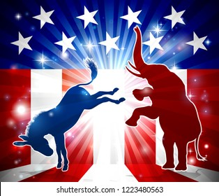 A donkey kicking an elephant in silhouette with an American flag in the background democrat and republican political mascot animals