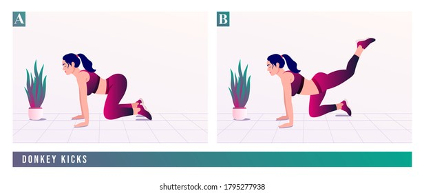 Donkey Kicks exercise, Woman workout fitness, aerobic and exercises. Vector Illustration.