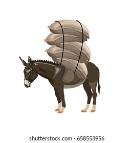 Donkey laden with sacks. Vector illustration