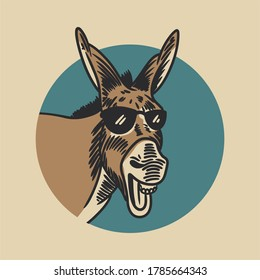 the donkey laughing and wearing glasses in the background of a blue circle vintage illustration