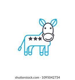 Donkey linear icon concept. Donkey line vector sign, symbol, illustration.