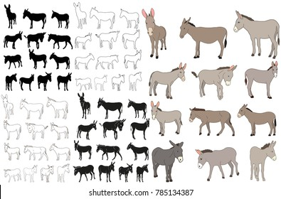 donkey, mule, outline, collection of silhouettes