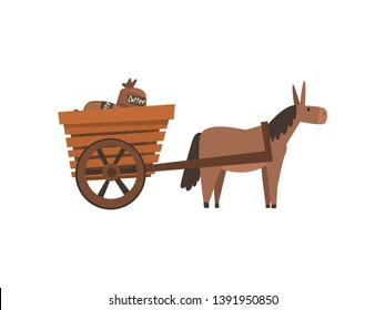 Donkey Pulling Wooden Cart with Coffee Bags, Coffee Industry Production Stage Vector Illustration