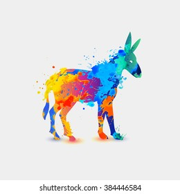 Donkey. Rainbow splash icon