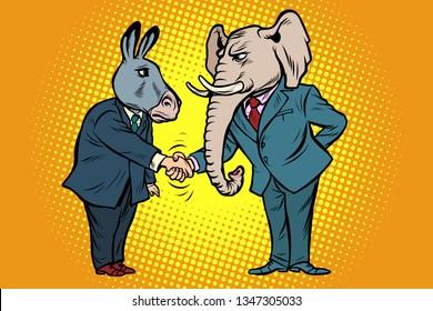 donkey shakes elephant hand. Democrats Republicans. Comic cartoon pop art vector retro vintage drawing