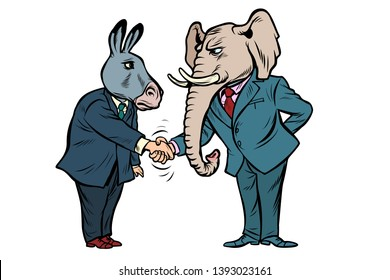 donkey shakes elephant hand. Democrats Republicans. isolate on white background Comic cartoon pop art vector retro vintage drawing