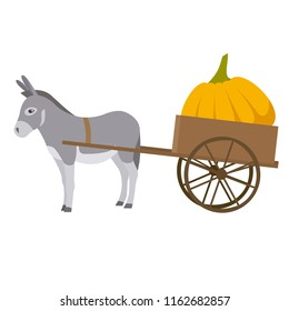 Donkey with small cart. Cartoon donkey with pumpkin. Vector illustration in flat style.