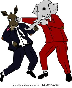 Donkey versus Elephant, Democrats vs Republicans Fights