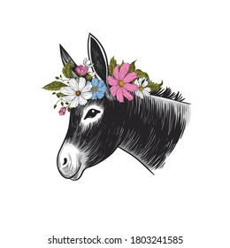 Donkey in a wreath of flowers. Hand drawn realistic animal portrait. Vintage vector illustration.