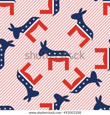 Donkeys seamless pattern on red stripes background. USA presidential elections patriotic wallpaper. Grid pattern