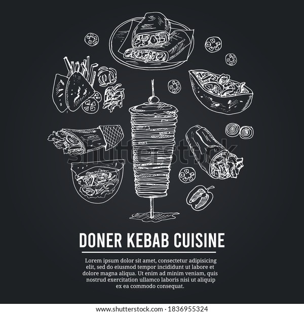 Donner Kebeb Cuisine Menu Doodle Icons Stock Vector Royalty Free 1836955324