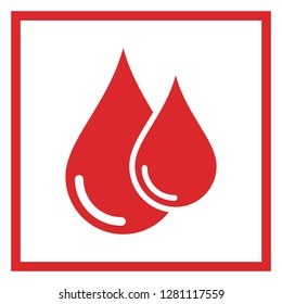 Donor blood icon. Symbol of red blood drops in a frame. Flat vector illustration for web design