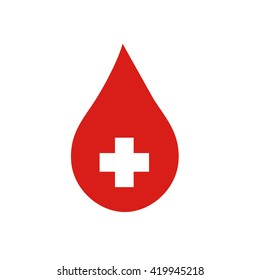 Donor concept. Flat blood drop isolated