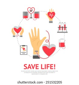 Donor flat concept with blood donation and transfusion process icons set vector illustration