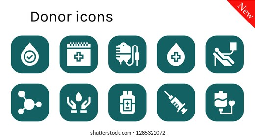 donor icon set. 10 filled donor icons. Simple modern icons about  - Blood, Transfusion, Blood donation, Blood transfusion
