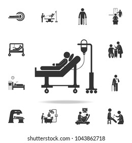 donor lies on a gurney and blood transfusions illustration icon. Detailed set of medicine element Illustration. Premium quality graphic design. One of the collection icons on white background