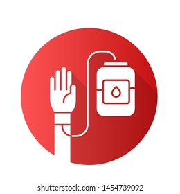 Donorship flat design long shadow glyph icon. Blood donation and transfusion. Volunteer activity. World Donor Day. Medical treatment. Donor hand and blood bag. Vector silhouette illustration