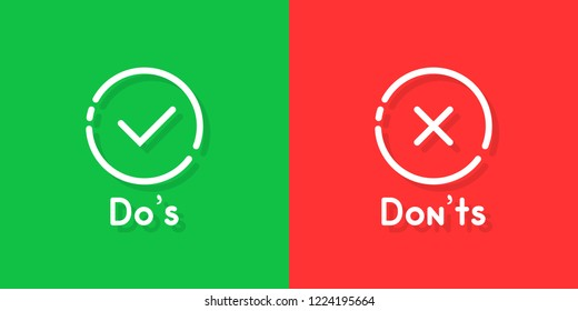 don't and don'ts information signs. flat cartoon linear customer complaint logotype graphic art design isolated on red and green background. concept of answer the question like bad vs good buttons