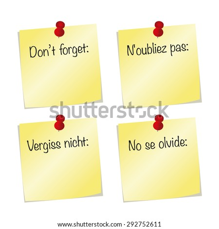 dont forget words english spanish german stock vector royalty free 292752611 shutterstock. Black Bedroom Furniture Sets. Home Design Ideas