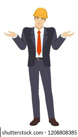 I don't know. Businessman in construction helmet with an I don't know gesture. Full length portrait of businessman character in a flat style. Vector illustration.