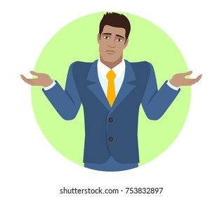 I don't know. Businessman with an I don't know gesture. Portrait of Black Business Man in a flat style. Vector illustration.