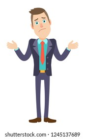 I don't know. Businessman shrugging his shoulders. Full length portrait of Cartoon Businessman Character. Vector illustration in a flat style.