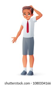 I don't know. Young student boy in school uniform. Surprised puzzled kid scratching his head and shrugging shoulders. Cartoon style vector illustration isolated on white background.