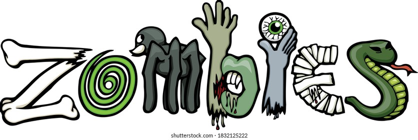 Don't let the flesh eating zombies get you!  This set features a spooky and creepy zombie clip art composed in the word zombies.