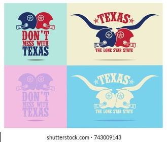 don't mess with texas with american football cap, and nickname the lone star state.