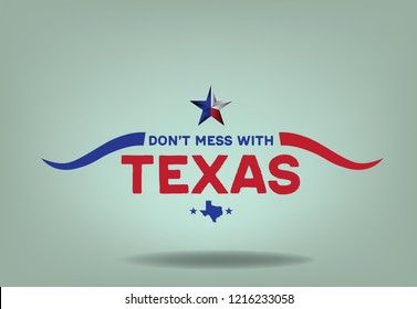 Don't Mess with Texas logo design with small map, vector eps 10.