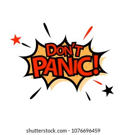 Don't Panic in comic style. Vector illustration.