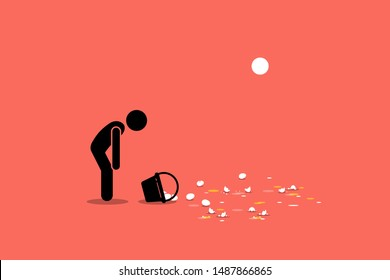 Don't put all your eggs in one basket. Vector artwork showing a man accidentally dropping his basket of eggs on the floor and breaking them. Concept of fail investment, mistake, and financial lost.