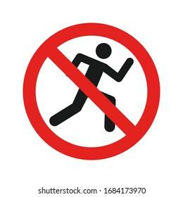 Don't Run icon flat style vector illustration