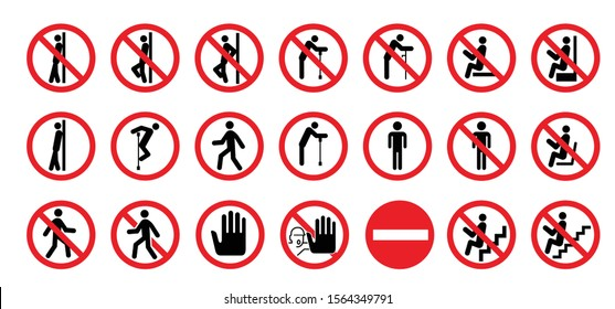 Don't sit Do not lean or seat Vector stop icons Do not enter warning prohibition forbid forbidden Caution no entry walk No Ban seating leaning road symbol zone caution door Not Allowed prevention